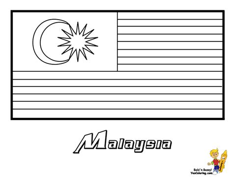 coloring pages kids malaysia flag