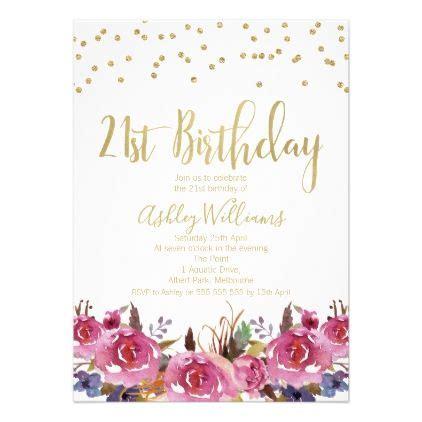 Floral Watercolor 21st Birthday Invitation Zazzle com