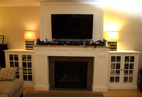 cabinets next to fireplace craftsman fireplace with built in media cabinets fine