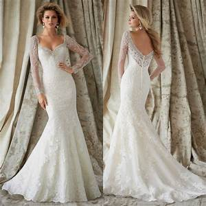 new long vintage lace wedding dress bridal gown with With vintage lace wedding dresses with sleeves