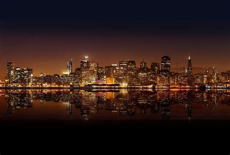 city lights sf city lights cityscape water san francisco hd