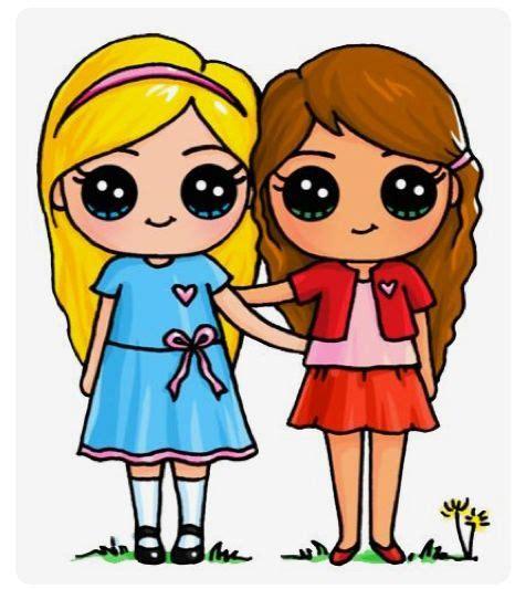 twee beste vriendinnen schattige tekeningen meisjes