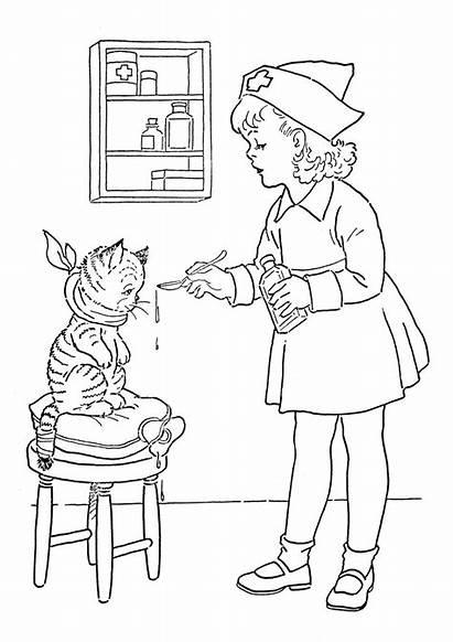 Coloring Nurse Printable Cat Pdf Graphics Lil