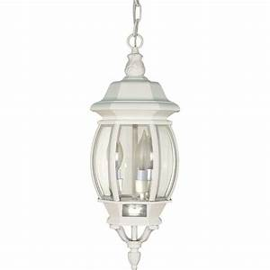 Glomar light outdoor white hanging lantern with clear