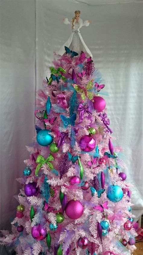 pink holiday barbie christmas tree complete  sparkly