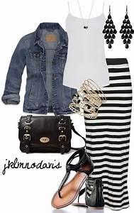 Striped maxi skirt white tank denim jacket black sandals black handbag | Cute Outfit add a ...