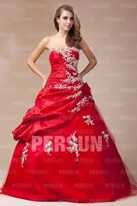 robe rouge mariee bustier coeur ornee de fleur et dapplique With robe bustier coeur