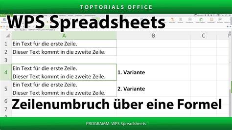 Zeilenumbruch Excel by Zeilenumbruch 252 Ber Eine Formel Wps Spreadsheets Toptorials