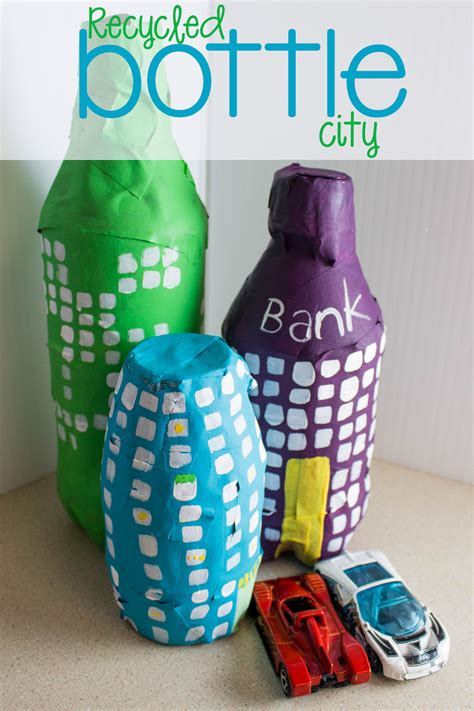 diy recycled bottle city craft mama