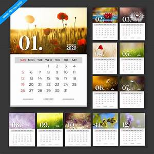 Free Printable Calendar October 2020 Calendar 2020 Vector Template Design Set Of 12 Months