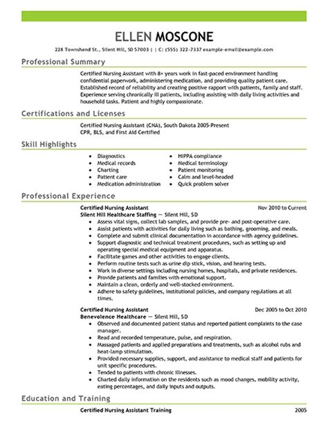 entry level cna resume cover letter for nursing assistant with no experience