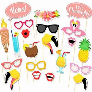 Flamingo Summer Party Photo booth Props Set of 21 - Misty