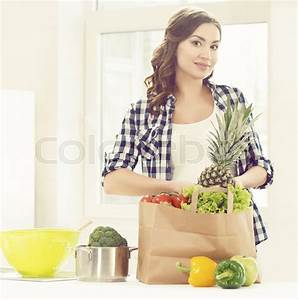 Beautiful Pregnant Woman With Shopping