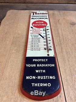 thermo anti freeze thermometer original vintage rare collectible tin sign