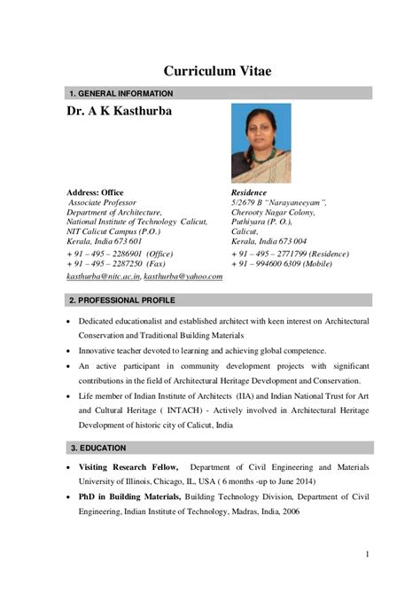 Cv For by Cv Kasthurba Nitc India