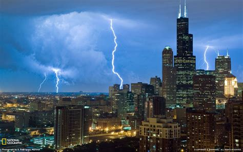 usa chicago illinois city skyscrapers lightning