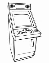 Coloring Pages Game Arcade Games Printable Colouring Drawing Line Books Party Drawings Designlooter Retro sketch template