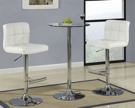 Round Glass Pub Table with Cream Bar Stool
