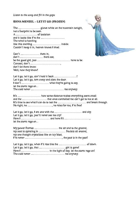 Song Worksheet: Let It Go by Idina Menzel (