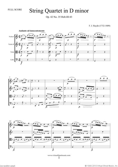 haydn string quartet   minor op  sheet