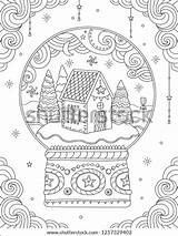 Coloring Christmas Adult Ball Crystal Vector Decorations Holiday Line Card Snow Symbols Greeting Outdoor Trees sketch template