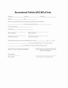 Rv Bill Of Sale Form Recreational Vehicle Bill Of Sale Form Sample Free Download