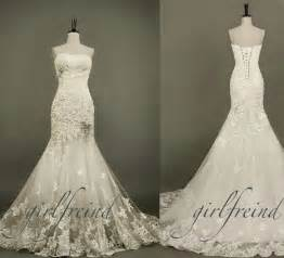 Pearl Lace Strapless Wedding Dress