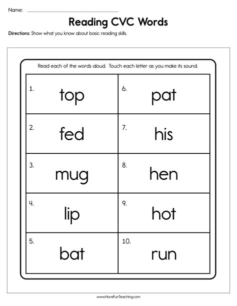 reading cvc words worksheet  fun teaching