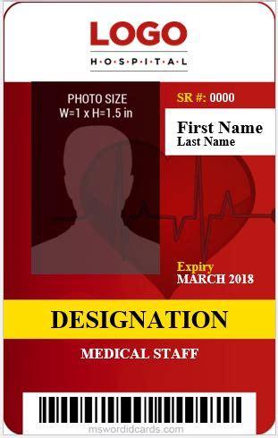 medical staff id card templates ms word microsoft