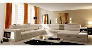 Canapé Panoramique Cuir : deco in paris canape panoramique en cuir beige angle droit venise can pano angledroit pu blanc ~ Teatrodelosmanantiales.com Idées de Décoration
