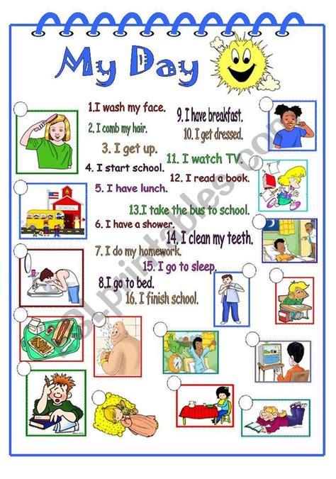 day worksheet learning english  kids hygiene
