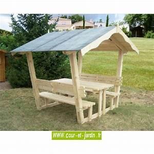 Table Et Banc De Jardin : table pique nique bois avec banc et tonnelle de jardin nice ~ Teatrodelosmanantiales.com Idées de Décoration