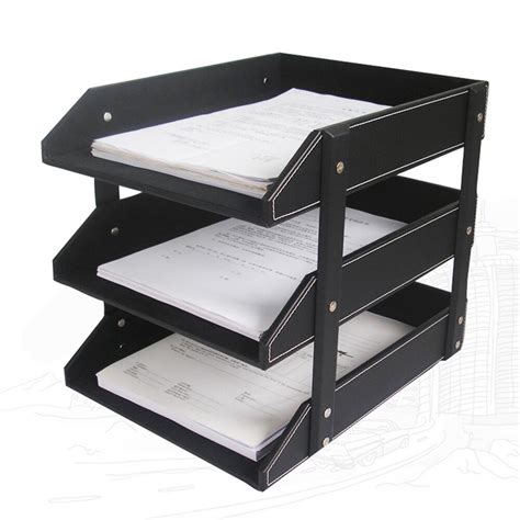 3 tray leather office file document tray rack desk