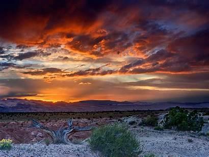 Desert Sunset Landscape Western Skies Sand Ground