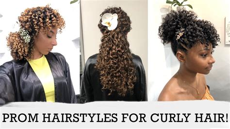 Cute Prom Hairstyles For Curly Hair! 3 Curl Types, 3