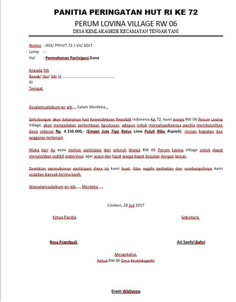 Contoh Surat Permohonan Sponsor by Contoh Surat Permohonan Bantuan Dan Kegiatan