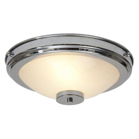 flush fitting circular chrome and glass deco light for