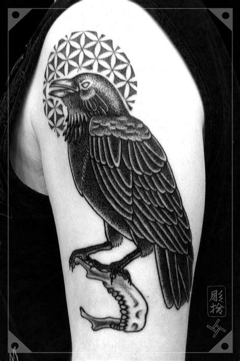 Crow Tattoo Blackwork Dotwork Flower of Life Mandible   tats   Tattoos, Tattoo studio, Left arm