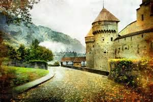 country home interior ideas fairytale castle landscape road artwork autumn