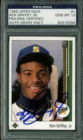 1989 deck ken griffey jr psa lot detail ken griffey jr signed 1989 deck rookie