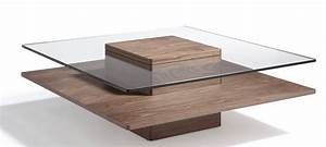 Table Basse Carrée Verre : table basse carr e bois plaqu noyer et verre tremp hena ~ Teatrodelosmanantiales.com Idées de Décoration