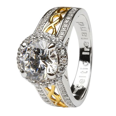 gold and silver ls silver and gold plated white cz halo ring ls sl100cz