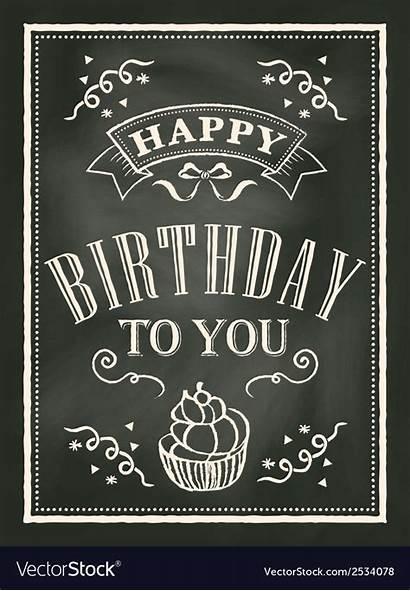 Birthday Card Chalkboard Background Vector Vectorstock