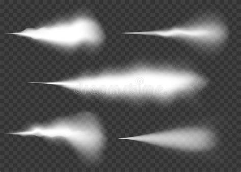 Water Spray, Mist And Smoke Effect Set. White Spray Effect