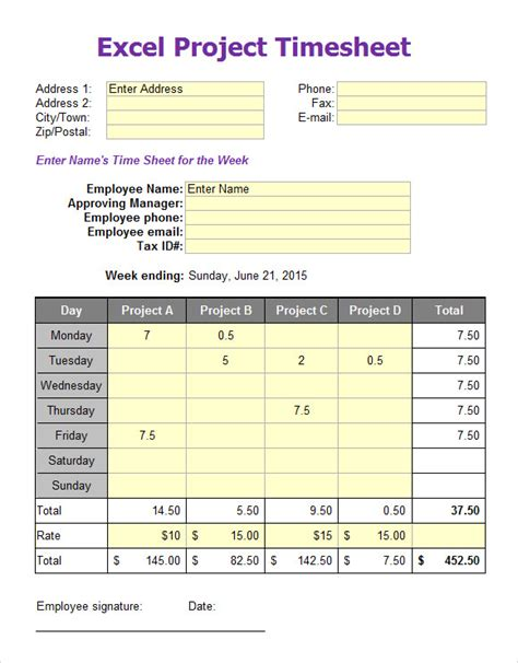 sample excel timesheets  excel