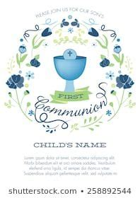 Blue and Green Boy's First Holy Communion Invitation with
