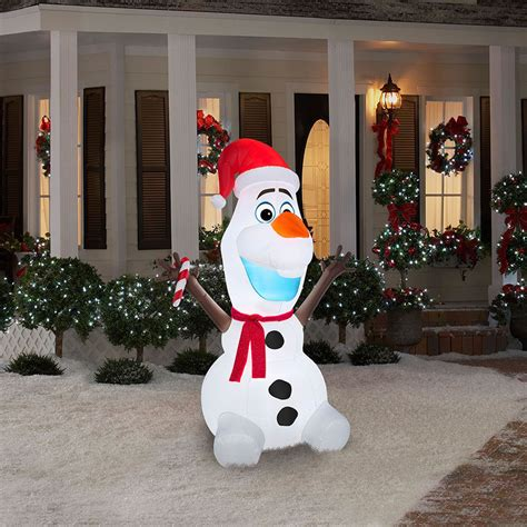 airblown 6 ft tall olaf with scarf and candy cane disney