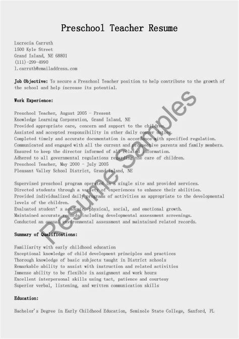 preschool resume samples resume samples preschool teacher resume sample