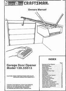 Craftsman 13953513 User Manual Sears Electronic Garage