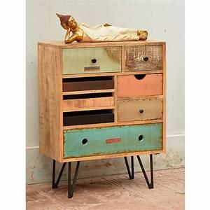 Commode En Bois : commode vintage tiroirs en bois fusion by drawer ~ Teatrodelosmanantiales.com Idées de Décoration